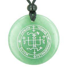 Sigil of the Archangel Gabriel Magical Amulet Green Quartz Pendant Necklace