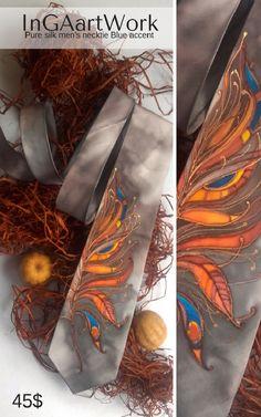 Pure silk men's necktie Orange accent  45$