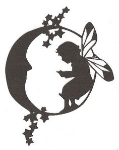 Fairy on the moon silhouette