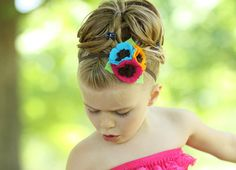 Bright (Turquoise, Hot Pink and Orange) Felt Flower Blossoms on top of a 1/4 in Brown Elastic Headband