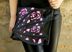Hey, I found this really awesome Etsy listing at https://www.etsy.com/listing/240235028/black-bag-dragon-wing-with-pink-roses
