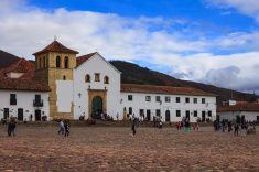 Villa de Leyva, Colombia: 16th Century Church during Golden Hour stock photo