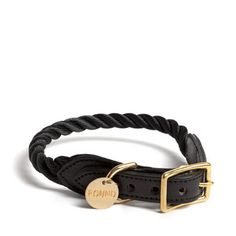 Black Rope and Leather Dog Collar by Found My Animal ~ Handcrafted in Brooklyn, NY ~ Nautical inspired, marine grade rope and domestic leather dog collar with solid brass hardware ~ Matching leash available ~ Classic style paired with high quality craftsmanship | Scotch and Hound