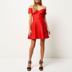 River Island Red bardot skater dress (110 SAR) ❤ liked on Polyvore  featuring dresses fab062989