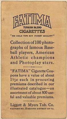1914 Fatima (T222) #10 Joe Bush Back