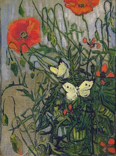 Vincent van Gogh - Butterflies and Poppies, 1890 at Van Gogh Museum Amsterdam Netherlands