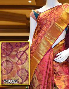 Classy bridal saree Kancheepuram wedding collection. Visit Pothys Boutique, G N Chetty Road, T Nagar, Chennai, for the finest range of wedding sarees.