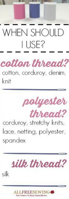 Learn what types of thread to use when sewing with this guide and infographic.