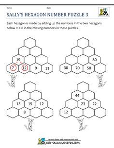 printable math puzzles sallys hexagon number puzzle 3