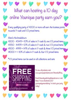 Earn points by hosting an online Younique party! New products come out in March!!