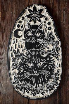 Two Cats Woodcut by Bryn Perrott 2014 Lino Art, Woodcut Art, Linocut Prints, Woodcut Tattoo, Tattoo Samurai, Intaglio Printmaking, Kids Printmaking, Stamp Carving, Illustrator
