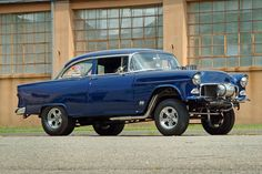 55 Chevy Gasser ★。☆。 I owned a 55 Chevy 210 that was raced every weekend any uselessly won. I started racing in Q stock with the basic(Stock) 55 Chevy 265 V8 producing 162 hp (121 kW) with a 2-barrel carburetor. Although we had Hooker Headers, a Dontov (Corvette) cam, Slicks and lots of other things The secret was the 6.17 gear ratio it was perfect for a 1/8 mile Car. Later with a larger engine it was a handful to drive but very fast.