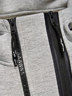 DOUBLE ZIP SWEAT-SHIRT À CAPUCHE, Light Grey Melange