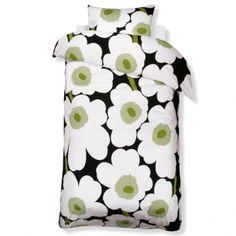 Unikko pussilakana ja tyynyliina, musta-vihreä