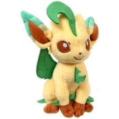 Pokemon - Plush Figure: Leafeon Tomy Pokémon, Pokémon Plush www. Pokemon Masks, Pokemon Dolls, Pokemon Gifts, Pokemon Plush, Pikachu, Pokemon Pokemon, Pokemon Room, Ryan Toys, Pokemon Eevee Evolutions