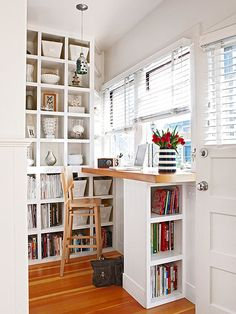 Turn your window area into a small office. Install a built-in desk and shelves under a large window for a work area with a view: http://www.bhg.com/decorating/small-spaces/strategies/small-space-home-offices/?socsrc=bhgpin040715spacewithaview&page=14