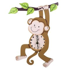 Fantasy Fields by Teamson Sunny Safari Childrens Wooden Monkey Wall Clock Decoration Gift TD-0081A: Amazon.co.uk: Baby