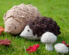 Knit hedgehogs and mushrooms