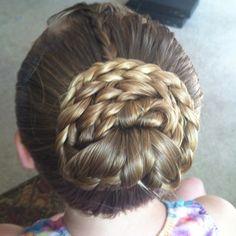 gymnastic hairstyles | hairstyles / Gymnastics meet bun.