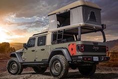 Jeep just unveiled six concept vehicles for the annual Moab Easter Jeep Safari. They are all Jeep Gladiator truck-based concepts. Jeep Gladiator, Jeep Pickup, Pickup Trucks, Ford Trucks, Top Tents, Roof Top Tent, Car Top Tent, Jeep Cars, Jeep Truck