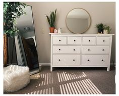 Room Ideas Bedroom, Home Decor Bedroom, Mirror Bedroom, Bedroom With Tv, Full Length Mirror In Bedroom, Simple Bedroom Decor, Bedroom Layouts, Bedrooms With White Furniture, White Drawers Bedroom