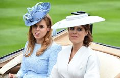 Princess Beatrice opted for an elegant blue ensemble, while Princess Eugenie looked chic in white during the carriage procession today