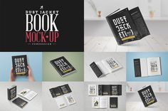 Book Mock-Up / Dust Jacket Edition by PuneDesign on @creativemarket