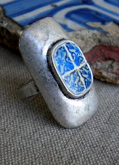 Portugal Blue Tiles Replica RING see photo of actual by Atrio,