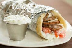Home made Greek Lamb Gyros with Tzatziki Sauce.a favorite and with double Tzatziki sauce ♡ Tzatziki Sauce, Salsa Tzatziki, Tahini Sauce, Gyro Meat, Gula, Comida Latina, Wrap Sandwiches, Greek Recipes, Empanadas