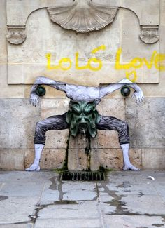 Artist Charles Leval, aka Levalet, wheatpasted characters in Paris that cleverly interact with their surroundings.