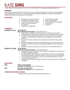 Sample Social Worker Resume Tammy Minnick Tammyminnick On Pinterest