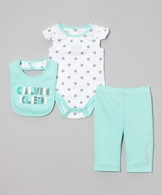 This Aqua & White Polka Dot Bodysuit Set - Infant by Calvin Klein Underwear is perfect! #zulilyfinds