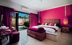 Gorgeous pink room with door that leads to an outdoor pool. Definitely my dream room. Dream Rooms, Dream Bedroom, Home Bedroom, Bedroom Decor, Pretty Bedroom, Bedroom Ideas, Bedroom Designs, Bedroom Inspiration, Girls Bedroom