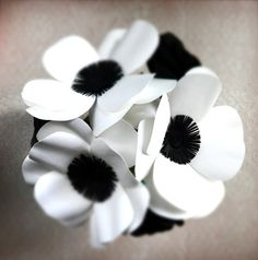 Black and White Anemones and Roses Paper Flower by DearBetsy