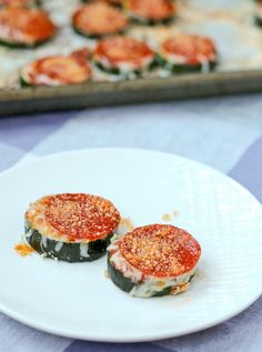 Mini Zucchini Pizzas - an easy snack that kids will love - get the recipe on RachelCooks.com