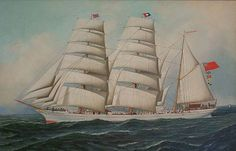 Antonio Jacobsen, British Barque East African, c. 1896, oil on canvas, 22 X 34 1/8 inches