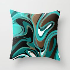 Liquify - Brown, Turquoise, Teal, Black, White Couch Throw Pillow by Elsy's Art - Cover x with pillow insert - Indoor Pillow Black White Rooms, Black And White Pillows, White Throws, White Couches, White Throw Pillows, Couch Pillows, Down Pillows, Brown Couch, Teal