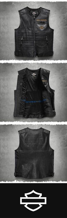 Perfect for rallies and parades. | Harley-Davidson Men's 115th Anniversary Leather Vest
