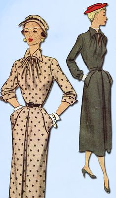 1950s Vintage McCall Sewing Pattern 8114 Misses Slender Dress Size 16 34 Bust #McCall #DressPattern