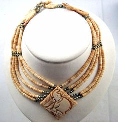 Exotic Ethnic Vintage Indian Carved Bone 5 Strand Disc Bead Long Bib Necklace in Jewelry & Watches, Vintage & Antique Jewelry, Vintage Ethnic/Regional/Tribal, Asian & East Indian | eBay