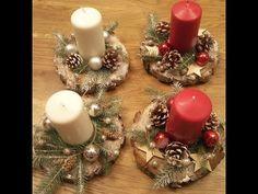 DIY Adventní svícen. Christmas candlestick. - YouTube Christmas Decorations, Table Decorations, Candlesticks, Holiday Crafts, Dyi, Centerpieces, Diy Crafts, Wreaths, Home Decor