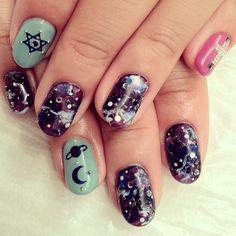 ギャラクシーネイル☪ 銀河にはどんな不思議が隠れているのだろうか。とても気になります。 #nail #nails #nailart #nailarts #nailartclub #nailspot_anela #moon #star #galaxy #ネイルアート #ネイル #h...