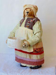 Купить Толстушка-хлопотушка - мишка, тедди, деревня мишкино, винтаж, коллекционные медведи, ручная вышивка