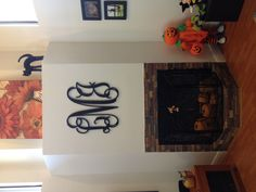 large Monogram Family initials over fireplace
