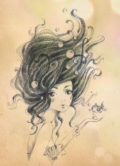 sketch illustration mermaid alice wong