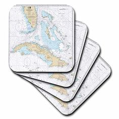 3dRose Print of Cuba and Straights of Florida Chart  Soft Coasters Set of 8 cst_204867_2 *** Click image to review more details. (This is an affiliate link) #FurnitureBarCoasters