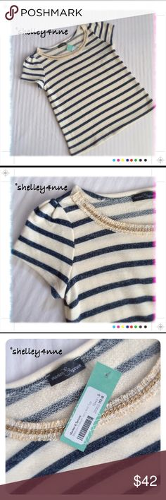 Melrose French Terry Knit Navy Stripe navy stripes | gold embellishments | new, perfect condition! Market & Spruce Tops Tees - Short Sleeve