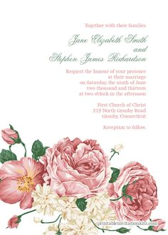 We're bringing you some of the loveliest free wedding invitation templates from various designers with great style. Save money, and look good doing it! Wedding Vows Template, Free Printable Wedding Invitations, Wedding Invitation Card Design, Garden Wedding Invitations, Invitation Kits, Flower Invitation, Invites, Wedding Planner, Destination Wedding