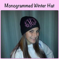 45728330573 Monogrammed Black Winter Cap by Limeatopia on Etsy