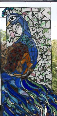 @Mosaic Peacock  Stained Glass and Mirror on Board by Jane Campbell